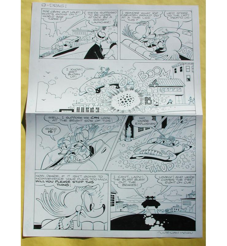 2004 Walt Disney's Comics and Stories #644 Original Ink Page 8 Comic Book Art Donald Duck in Drag