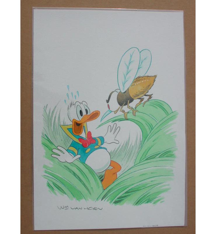 William Van Horn Donald Duck vs Bee Original Cover Painting
