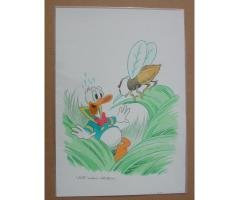 William Van Horn Donald Duck vs Bee Original Cover Painting