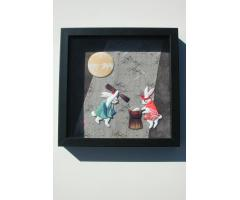 Beautiful Classic Japanese Textile Oshie Art Hares POUNDING RICE CAKES by Keiko Kiyota