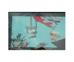 Fabulous Japanese Textile Oshie Art Hares Kite Flying Picnic A SEASONAL FESTIVAL by Keiko Kiyota