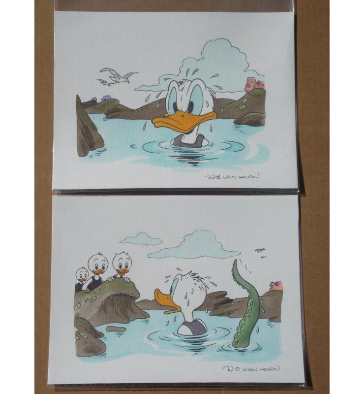 2 Panel Paintings Walt Disney's Comic Book Art Donald Duck & 3 Nephews Huey Dewey Louie