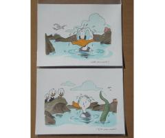 2 Panel Paintings Walt Disney's Comic Book Art Donald Duck & 3 Nephews Huey Dewey Louie