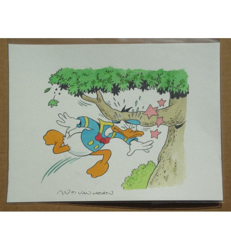 Donald Duck Panel Painting Van Horn b1939 Walt Disney's Original Comic Book Art
