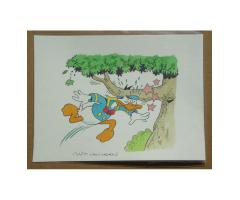 Donald Duck Panel Painting Van Horn b1939 Walt Disney's Original Comic Book Art