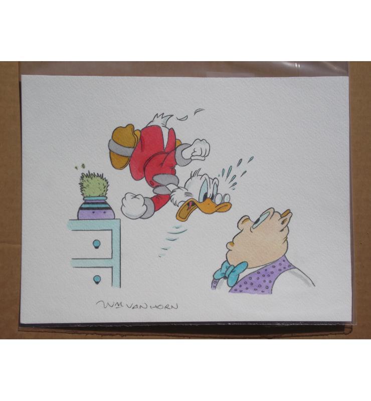 Carl Barks Uncle Scrooge McDuck Panel Painting by Van Horn b1939 Walt Disney's Comic Book Art